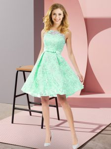 Apple Green Zipper Scoop Bowknot Quinceanera Court Dresses Lace Sleeveless