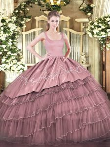 Hot Selling Pink Organza Zipper Sweet 16 Quinceanera Dress Sleeveless Floor Length Embroidery and Ruffled Layers