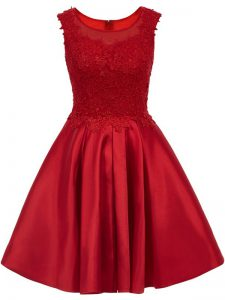 Wine Red Damas Dress Prom and Party with Lace Scoop Sleeveless Zipper