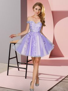 Adorable Tulle Off The Shoulder Sleeveless Zipper Appliques Court Dresses for Sweet 16 in Lavender