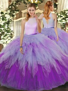 Affordable Multi-color Quinceanera Gowns Sweet 16 and Quinceanera with Ruffles High-neck Sleeveless Zipper