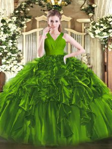 Floor Length Zipper Vestidos de Quinceanera Olive Green for Military Ball and Sweet 16 and Quinceanera with Ruffles
