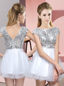 Cap Sleeves Tulle Mini Length Zipper Quinceanera Court of Honor Dress in White with Sequins