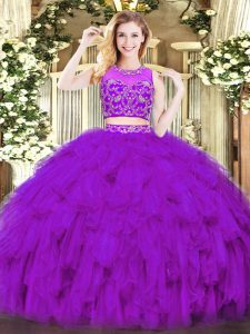 Modern Purple Quinceanera Gown Military Ball and Sweet 16 and Quinceanera with Beading and Ruffles Scoop Sleeveless Zipper