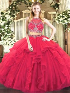 Sleeveless Tulle Floor Length Zipper Quince Ball Gowns in Coral Red with Beading and Ruffles