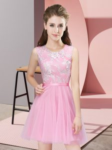 Nice Sleeveless Side Zipper Mini Length Lace Dama Dress for Quinceanera