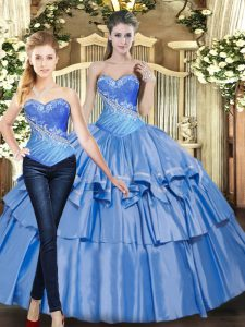 Sleeveless Lace Up Floor Length Beading and Ruffled Layers Quinceanera Dresses