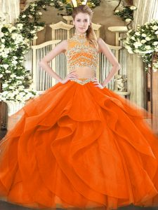 Sleeveless Beading and Ruffles Backless 15th Birthday Dress