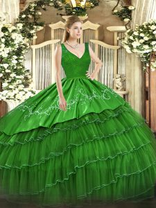 Beautiful Sleeveless Floor Length Beading and Lace and Embroidery and Ruffled Layers Backless Sweet 16 Dresses with Green