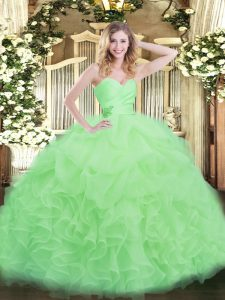 Enchanting Organza Sweetheart Sleeveless Lace Up Beading and Ruffles Vestidos de Quinceanera in Apple Green