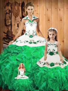 Excellent Halter Top Sleeveless Tulle Vestidos de Quinceanera Embroidery and Ruffles and Bowknot Lace Up