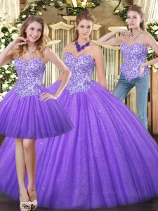 Pretty Eggplant Purple Zipper 15 Quinceanera Dress Appliques Sleeveless Floor Length