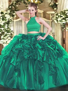 Clearance Turquoise Ball Gown Prom Dress Military Ball and Sweet 16 and Quinceanera with Beading and Ruffles Halter Top Sleeveless Backless