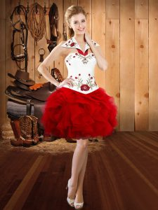 Beauteous Embroidery and Ruffles Red Lace Up Sleeveless Mini Length