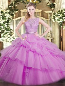 Spectacular Lilac Ball Gowns Organza Scoop Sleeveless Lace and Ruffled Layers Floor Length Backless Quinceanera Dress
