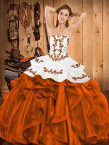 Orange Red Sleeveless Embroidery and Ruffles Floor Length 15 Quinceanera Dress
