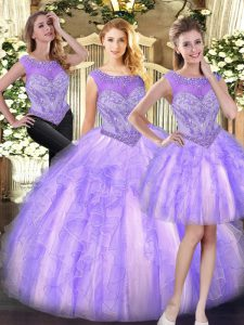 Amazing Sleeveless Tulle Floor Length Zipper Sweet 16 Dress in Lilac with Beading and Ruffles