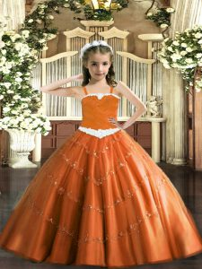 Eye-catching Floor Length Rust Red Pageant Dresses Tulle Sleeveless Appliques