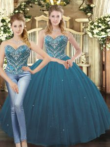 Flare Tulle Sweetheart Sleeveless Lace Up Beading and Ruffles Quinceanera Gowns in Teal