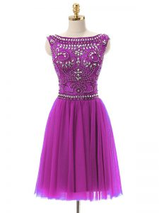 Trendy Empire Prom Dress Fuchsia Bateau Tulle Sleeveless Mini Length Zipper