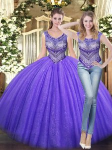 Popular Sleeveless Tulle Floor Length Lace Up Quinceanera Dress in Lavender with Beading