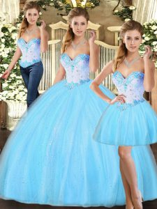 Cheap Baby Blue Three Pieces Tulle Sweetheart Sleeveless Beading Floor Length Lace Up 15th Birthday Dress