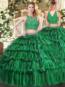 Dark Green Tulle Zipper 15th Birthday Dress Sleeveless Floor Length Beading and Appliques and Ruffled Layers