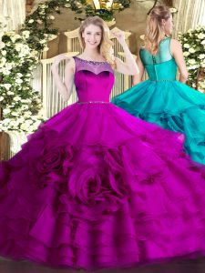 Designer Fuchsia Ball Gowns Scoop Sleeveless Organza Floor Length Zipper Beading and Ruffled Layers Vestidos de Quinceanera