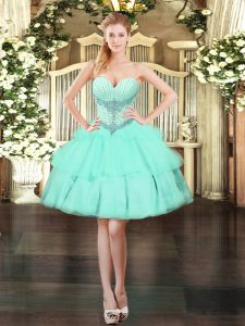 Decent Sweetheart Sleeveless Organza Beading and Ruffled Layers Lace Up
