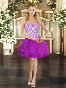 Flirting Beading and Ruffles Dress for Prom Fuchsia Lace Up Sleeveless Mini Length