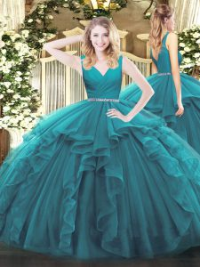 Trendy Floor Length Zipper 15th Birthday Dress Teal for Military Ball and Sweet 16 and Quinceanera with Beading and Ruffles