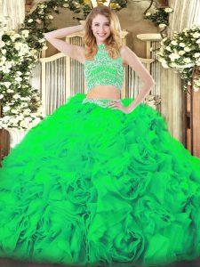 Sleeveless Floor Length Beading and Ruffles Backless Quinceanera Dresses with Green