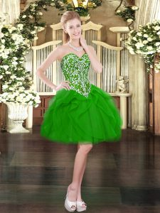 Flirting Green Prom Party Dress Prom and Party with Beading and Ruffles Sweetheart Sleeveless Lace Up