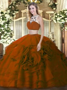 Fancy Two Pieces Quinceanera Dress Brown High-neck Tulle Sleeveless Floor Length Backless