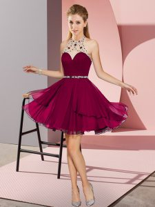 Fuchsia Sleeveless Chiffon Zipper Prom Dress for Prom and Party