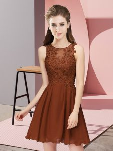 Noble Brown Zipper Scoop Appliques Dama Dress Chiffon Sleeveless
