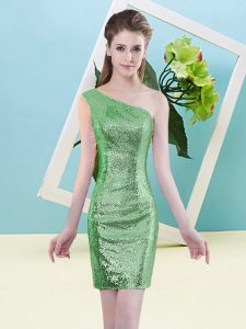 Green Prom Dresses Prom and Party with Sequins One Shoulder Sleeveless Zipper