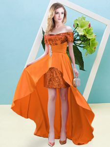 Adorable Short Sleeves High Low Beading Lace Up Prom Dresses with Orange