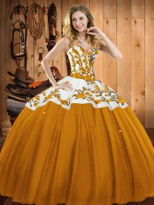 Floor Length Gold 15th Birthday Dress Satin and Tulle Sleeveless Embroidery