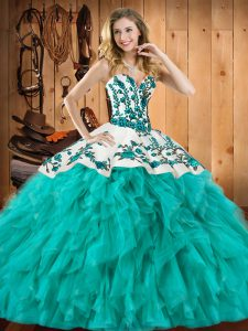 Delicate Turquoise Sweetheart Lace Up Embroidery and Ruffles Quinceanera Gown Sleeveless