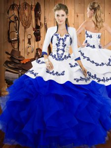 Glittering Strapless Sleeveless Quinceanera Gowns Floor Length Embroidery and Ruffles Blue Satin and Organza