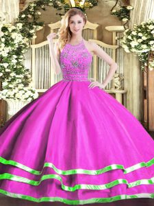 Excellent Tulle Sleeveless Floor Length Quinceanera Gown and Beading
