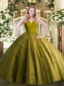 Trendy Sleeveless Floor Length Beading Zipper Sweet 16 Dresses with Olive Green