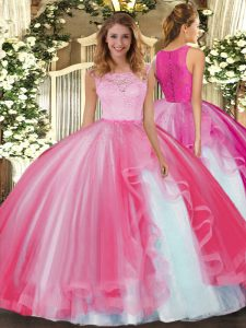 Wonderful Lace and Ruffles Quince Ball Gowns Hot Pink Clasp Handle Sleeveless Floor Length