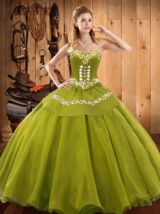 Flare Sleeveless Tulle Floor Length Lace Up Quinceanera Dress in Olive Green with Ruffles