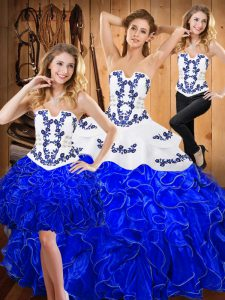 Beauteous Floor Length Lace Up Quinceanera Dress Blue And White for Military Ball and Sweet 16 and Quinceanera with Embroidery and Ruffles