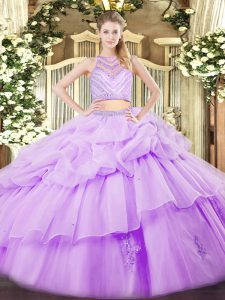 Lavender 15 Quinceanera Dress Military Ball and Sweet 16 and Quinceanera with Beading and Ruffles Scoop Sleeveless Zipper