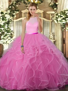 Rose Pink Sleeveless Ruffles Floor Length Quinceanera Dresses