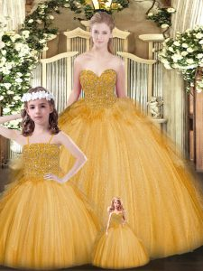 Best Floor Length Gold Quinceanera Gown Tulle Sleeveless Beading and Ruffles