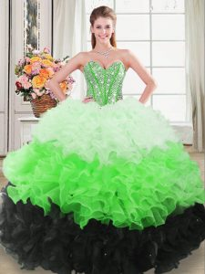 Exceptional Floor Length Multi-color Quinceanera Gown Sweetheart Sleeveless Lace Up